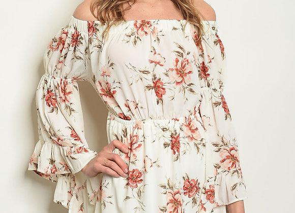 Ivory Floral Off Shoulder Dress