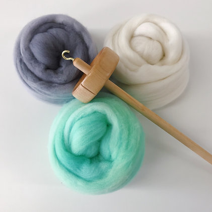 Yarn Spinning Kit - Maple Drop Spindle with 3 oz. of Hand-dyed Spinning Fiber