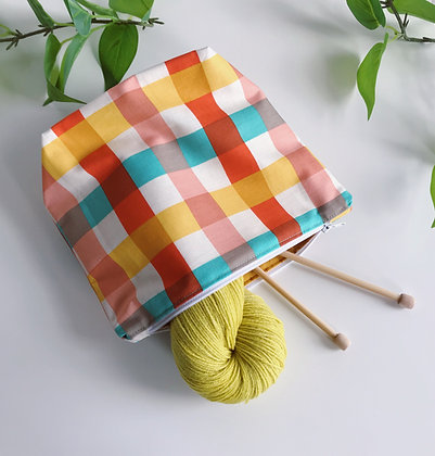 Handmade Zipper Bag - Picnic Plaid - Project Bag for Knitting, Crochet, Sewing