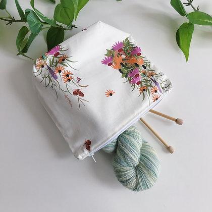 Handmade Zipper Bag - Wildflowers - Project Bag for Knitting, Crochet, Sewing
