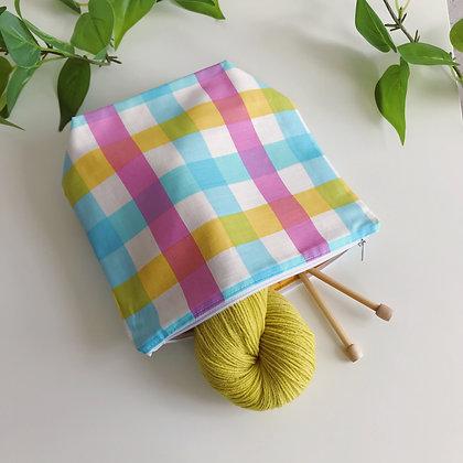 Handmade Zipper Bag - Blue Plaid - Project Bag for Knitting, Crochet, Sewing
