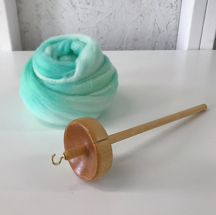 Yarn Spinning Kit - Maple Drop Spindle with 2 oz. of Hand-dyed Spinning Fiber