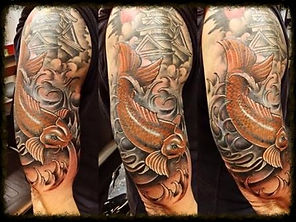 Japanese tattoo with koi fish at miami beach
