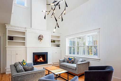 high ceiling living room