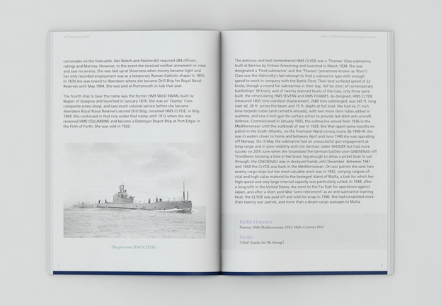 HMS CLYDE Decomissioning Book pages 8-9.
