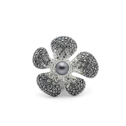 Flower-Swarovski 水晶配淡水珍珠及 925純銀戒指