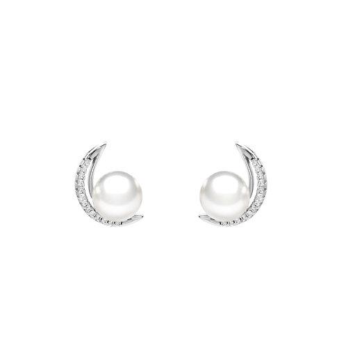 下弦月-淡水珍珠配 926純銀鑲白鋯石耳環