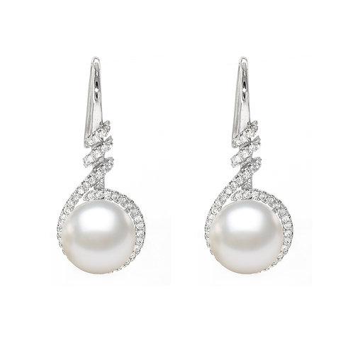 淡水珍珠配925銀鑲白鋯石耳環
