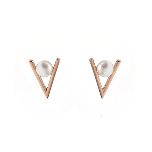 V-925 純銀鍍玫瑰金配淡水珍珠耳環