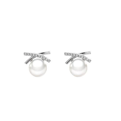 淡水珍珠配 926純銀鑲白鋯石耳環