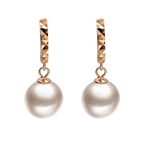 Matrix- 玫瑰金色 925 純銀配淡水珍珠耳環