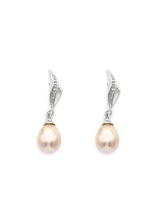 Wave  純銀淡水珍珠鋯石耳環