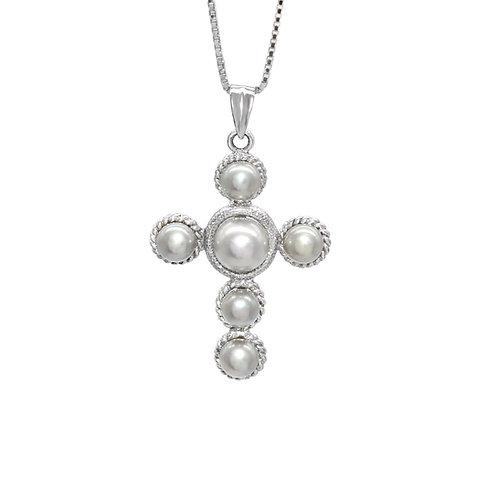 vintage cross- 淡水珍珠淡水珍珠純銀吊墜