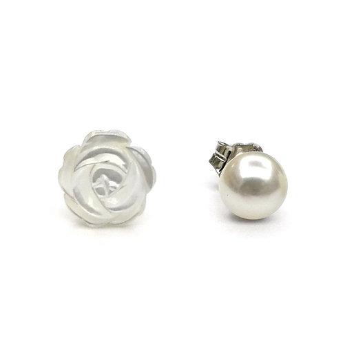 玫瑰花(白色)-珍珠貝及淡水珍珠純銀耳環