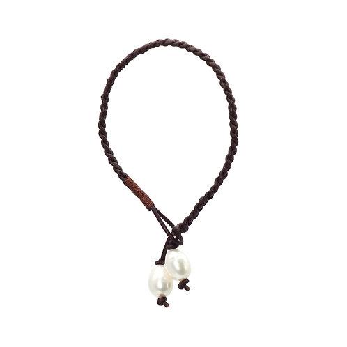 Vintage-皮繩淡水珍珠手鏈
