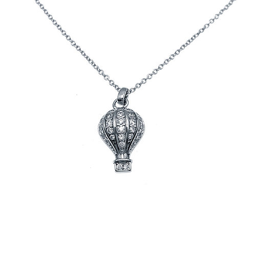 One & Ownly - 熱氣球- 925純銀鑲白鋯石吊墜 42cm頸鏈