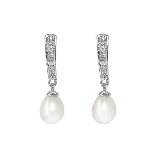 Lane- 淡水珍珠配925銀鑲白黃玉耳環
