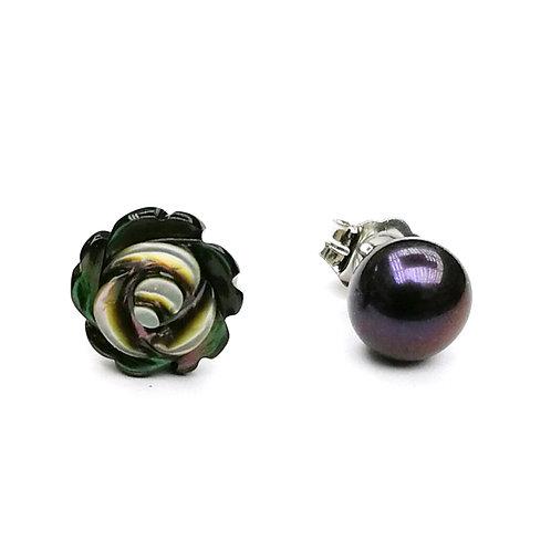 玫瑰花(黑色)-珍珠貝及淡水珍珠純銀耳環