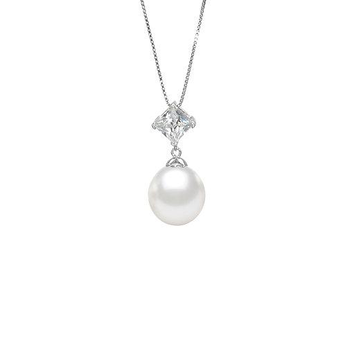 Crux-淡水珍珠925銀白鋯石吊墜