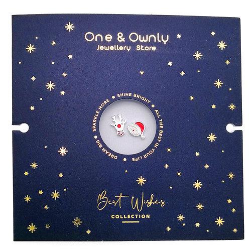 [聖誕禮物] 聖誕老人與馴鹿- 925純銀耳環