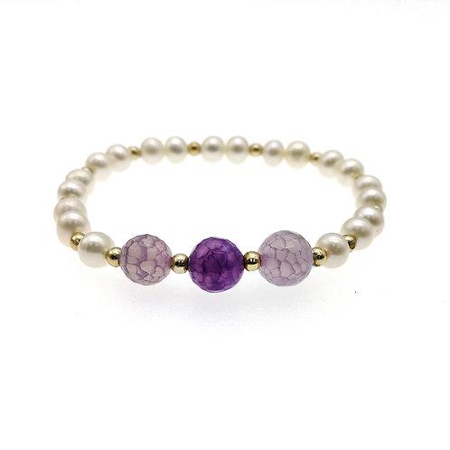 紫色瑪瑙配淡水養殖珍珠彈性手鏈
