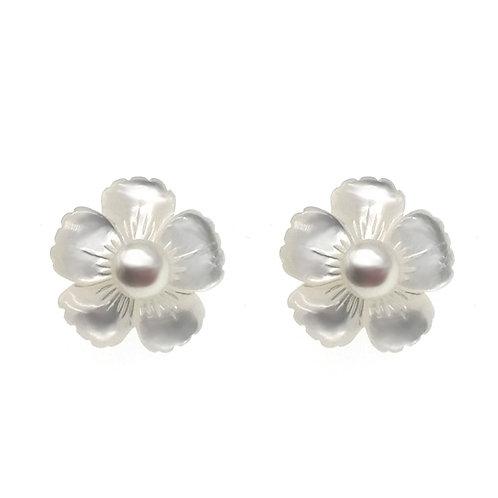 勿忘我- 925 純銀配淡水珍珠及珍珠貝耳環