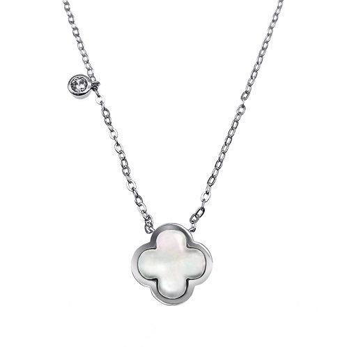 四葉草- 925純銀鑲白鋯石配珍珠貝頸鏈