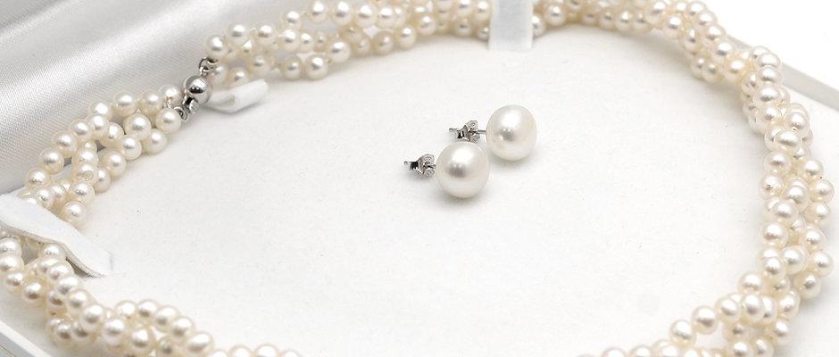 珍珠套裝-淡水珍珠織鏈配10-11mm淡水珍珠純銀耳環
