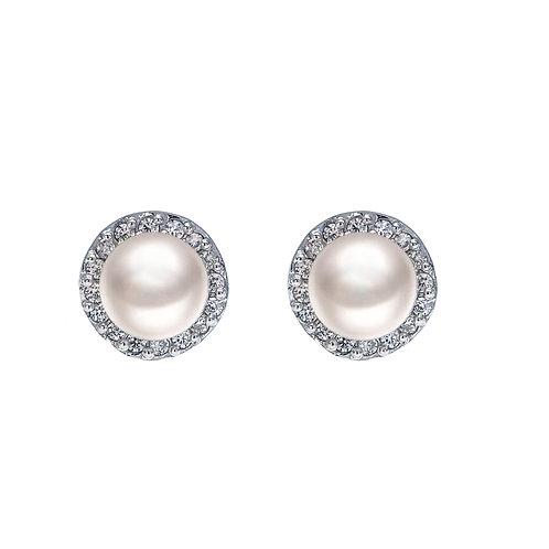 Begin- 925 純銀 鑲白鋯石配淡水珍珠耳環