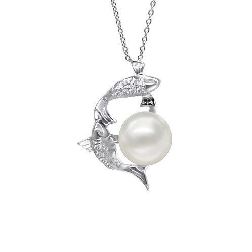 雙魚座/Pisces-14K/585 白金鑲天然鑽石配淡水珍珠吊墜