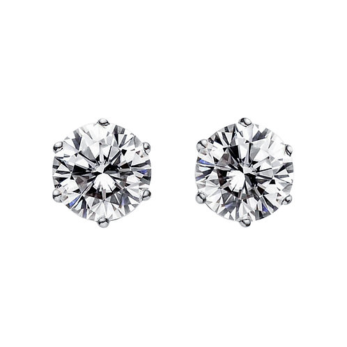 1卡白鋯石925純銀6爪耳環