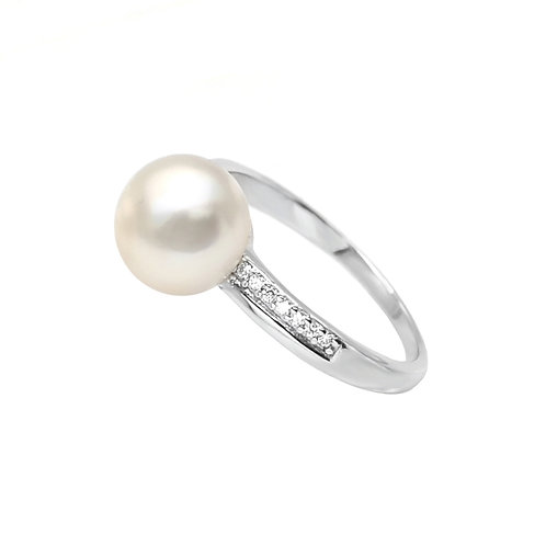 Being- 淡水珍珠鑲白鋯石純銀戒指