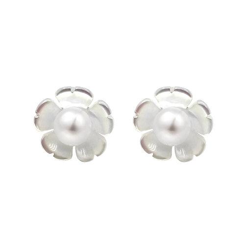 雞蛋花-925 純銀配淡水珍珠及珍珠貝耳環