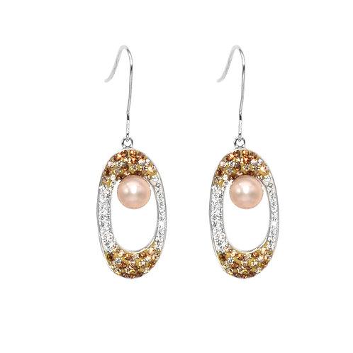 hood-Swarovski 水晶配淡水珍珠及 925純銀耳環
