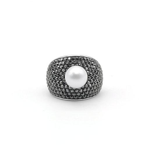 Swarovski 水晶配淡水珍珠及 925純銀戒指