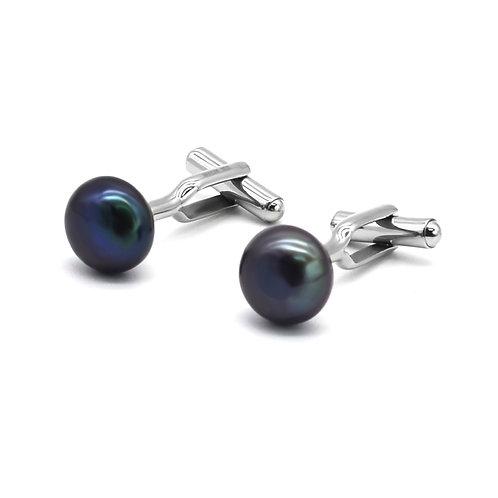 12-13mm 淡水珍珠配不鏽鋼袖扣