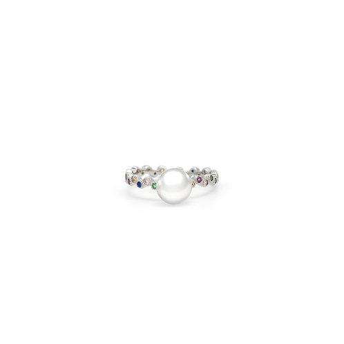 Color-淡水珍珠配 926純銀鑲白鋯石戒指