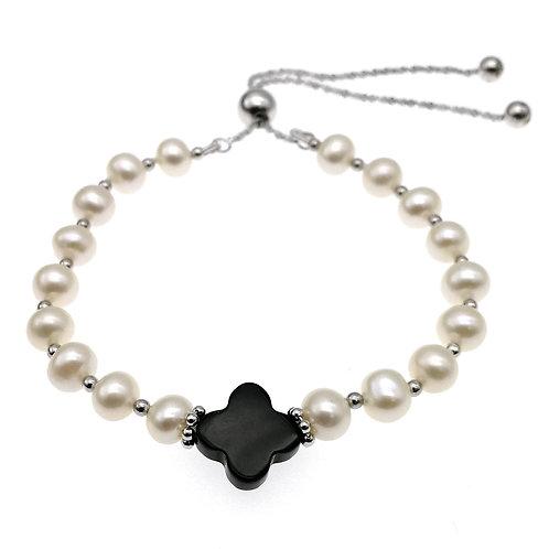 925 純銀 淡水養殖珍珠配黑瑪瑙手鏈-可調節長度