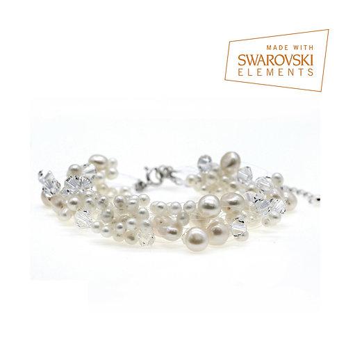 Pure- 婚嫁淡水珍珠配施華洛世奇水晶手鏈