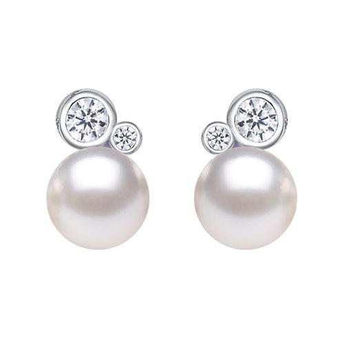 Film maker- 925 純銀鑲白鋯石配淡水珍珠耳環