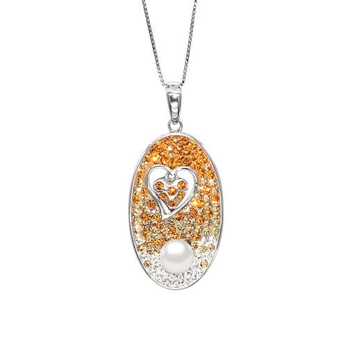 Deep-Swarovski 水晶配淡水珍珠及 925純銀吊墜