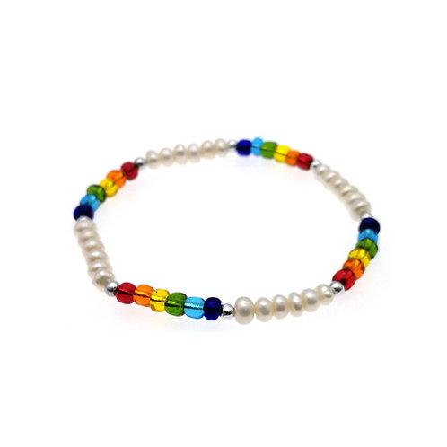 Rainbow- 淡水珍珠彈性手鏈