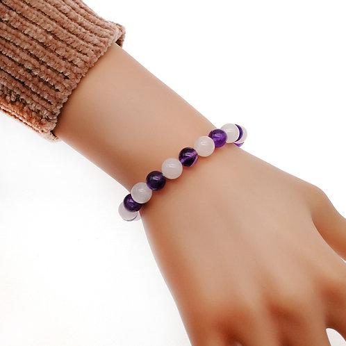 Twice- 紫水晶配粉晶彈性手鏈