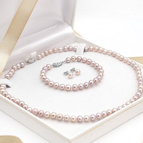 6-7mm粉紅色淡水珍珠純銀禮物套裝