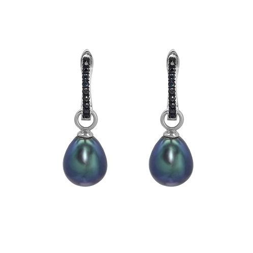Knight- 淡水珍珠鑲黑尖晶純銀耳環