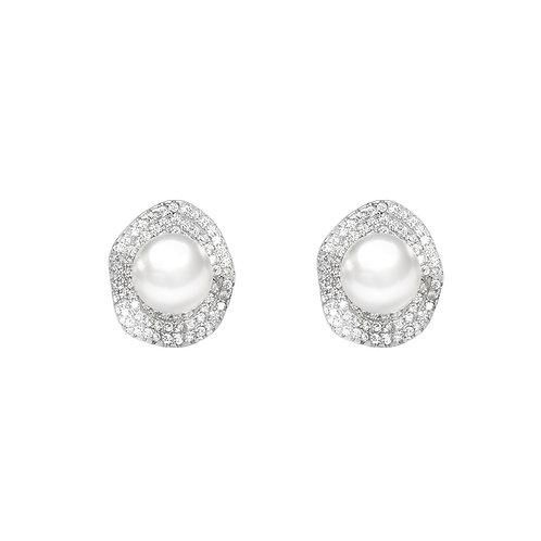 Lotus leaf-淡水珍珠配 926純銀鑲白鋯石耳環