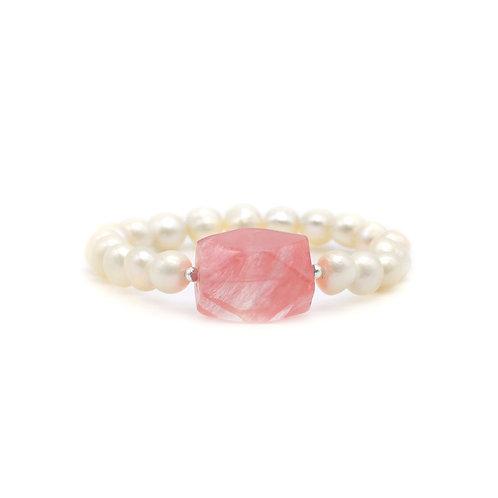 淡水珍珠配西瓜石手鏈 pearl with water melon stone