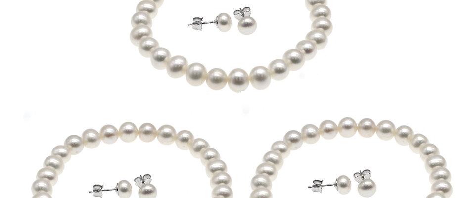 姊妹禮物套裝-淡水珍珠手鏈配6-7mm淡水珍珠純銀耳環