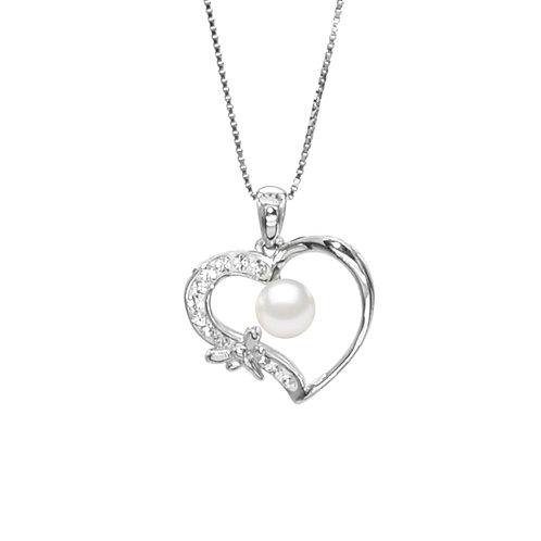 Dragon fly heart-Swarovski 水晶配淡水珍珠及 925純銀吊墜