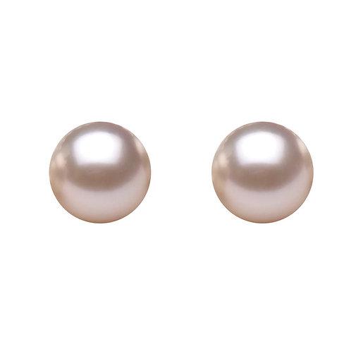 7-8mm 圓形淡水養殖珍珠配925純銀耳環 (天然粉紅色)
